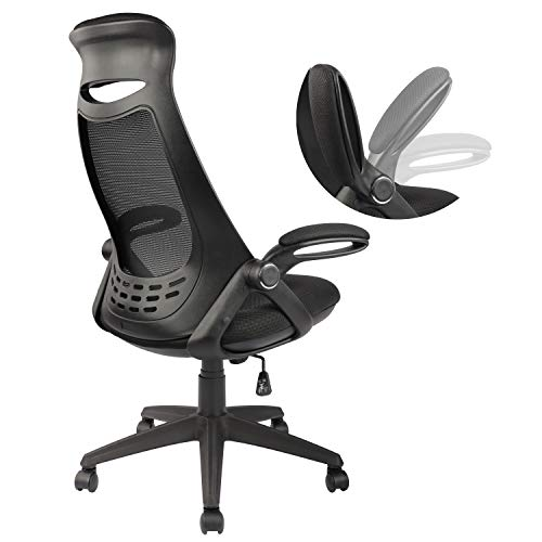 High-Back Ergonomic Office Desk Chair Mesh Executive Computer Chair Height Adjustable with Headrest and Flip-up Arms (Black)