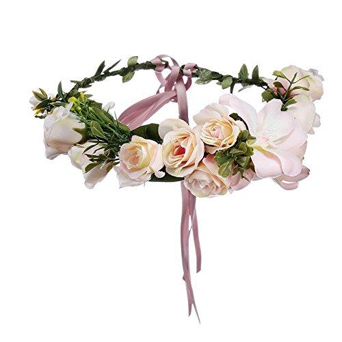 AWAYTR Blumen Stirnband Hochzeit Haarkranz Krone - Frauen Mädchen Blumenkranz Haare für Hochzeit Party(Rosa)