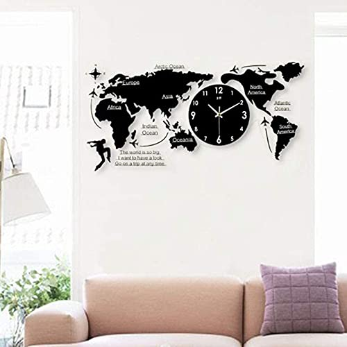 QOHG Wall Clock Acrylic Geante 100 cm Tarjeta Mundial Muro Péndulo Salon Silent Digital Clock