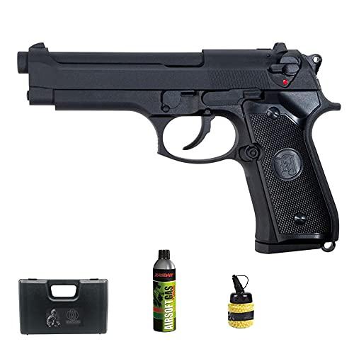 Pistola de Airsoft ASG M92F Gas (Calibre 6mm)   Arma Corta de Bolas PVC + Botella Green Gas + maletín + biberón