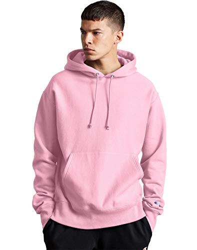 Champion Mens Reverse Weave Hood, M, Candy Pink