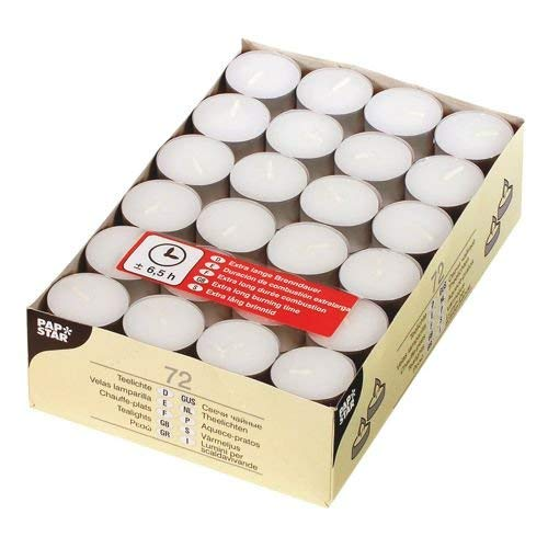 PAPSTAR 15230 Bougies chauffe-plat, diamètre 39 mm, blanc