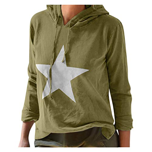 Buy Discount Kiminana Women's Loose Fashion Plus Size Casual Print Long-Sleeved Hooded Sweater Draws...