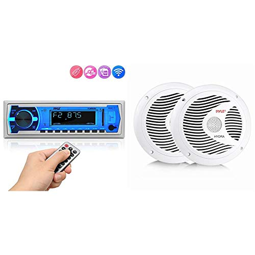 Pyle Marine Bluetooth Stereo Radio (White) & 6.5 Inch Dual Marine Speakers - 2 Way Waterproof and Weather Resistant Outdoor Audio Stereo Sound System - 1 Pair (White)