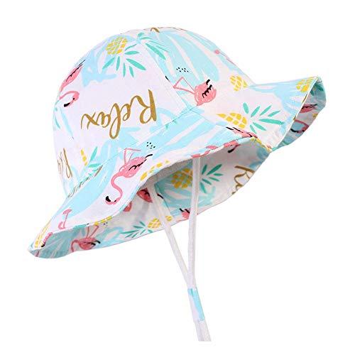 Gifts Treat Cappello Estivo da Sole per Bambina, Cappello Pieghevole da Donna Cappelli da Spiaggia in Cotone Morbido Cappello da Pescatore a Tesa Larga (Fenicottero, 48CM)