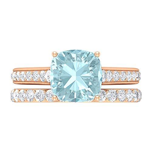 Conjunto de anillos de novia solitario, 8,5 mm, anillo de topacio azul cielo, D-VSSI Moissanite Eternity Banda Anillo, anillo de compromiso corte cojín, 14K Oro rosa, Size:EU 70