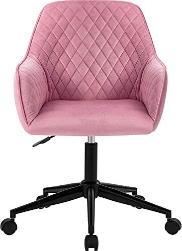 Rosa Samt Schreibtischstuhl Bürostuhl mit Waffen Luxuriöses Kissen für Heimbüro Drehstuhl