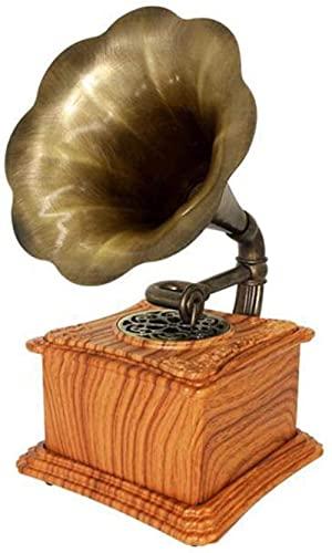 ZSMLB Altavoz Bluetooth clásico Perezoso gramófono Retro fonógrafo Vintage Doble grabación estéreo