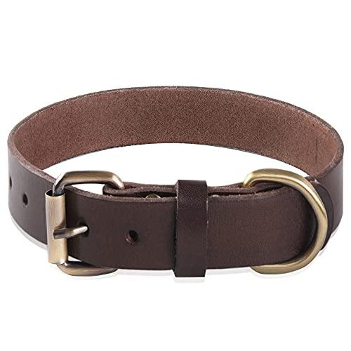 Collar de cuero para perros Cuero genuino súper suave para perros de razas pequeñas, medianas, grandes y extra grandes (Marrón) (L)