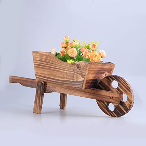 Yardwe Garden Plant Planter Wooden Wagon Planter Wheelbarrow Decoration for Indoor Outdoor - 45x19x20cm
