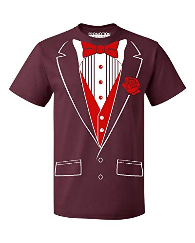 P&B Tuxedo Red Rose Funny Men's T-Shirt, 2XL, Maroon