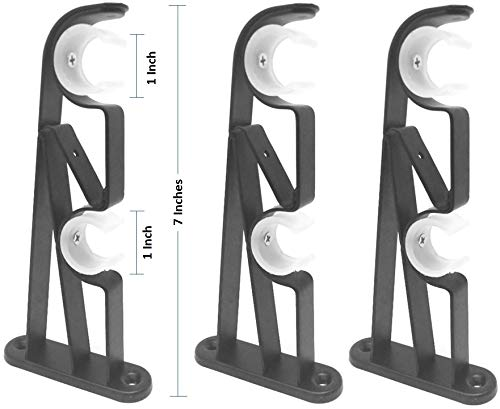 TEJATAN Double Curtain Rod Brackets (Black, 1 Pair + 1 Pc (3 Brackets))
