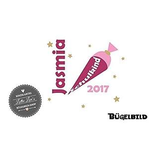 Bügelbild Schulkind Schultüte 2018 auch mit Wunschname und Zahl in Flex, Glitzer, Flock, Effekt in Wunschgröße