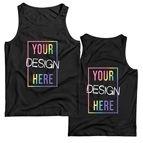 lepni.me Camisetas de Tirantes para Hombre Impresión Personalizada de 2 Caras en el Frente y en la Parte Posterior, Texto Personalizado o Diseño de su Propia Imagen (Large Negro Multicolor)