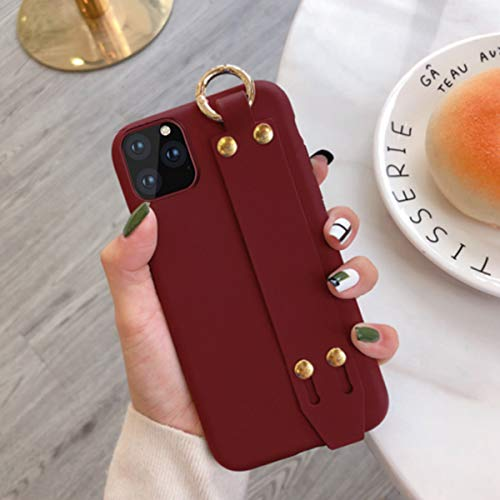 Topwin iPhone 11 (6.1) Case with Hand Strap, Soft Silicone Gel Rubber with Adjustable Wrist Strap Handy Belt Loop Kickstand Viewing Stand Feature Wristband for Apple iPhone 11 6.1'' 2019 (Wine Red)