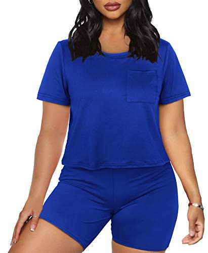 Active Wear Outfits for Women 2 Piece Shorts Sets Casual Blue XL