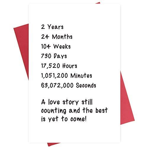 Happy Second Anniversary Card, Sweet 2 Years Love Card for Husband Wife Boyfriend Girlfriend
