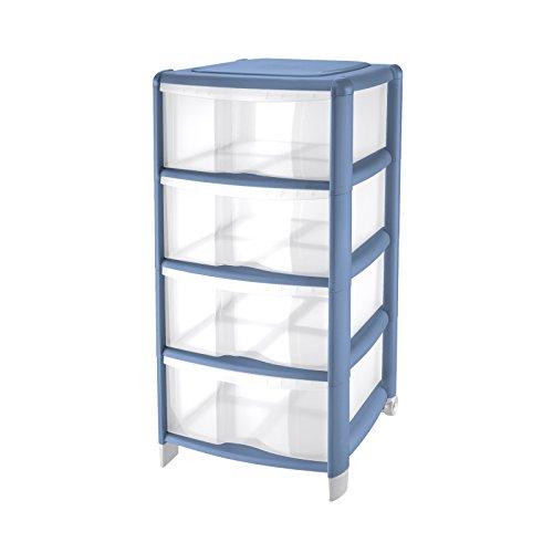 Tontarelli Cassettiera Bambù Medium con 4 cassetti alti, in plastica, colore Trasparente / Azzurro