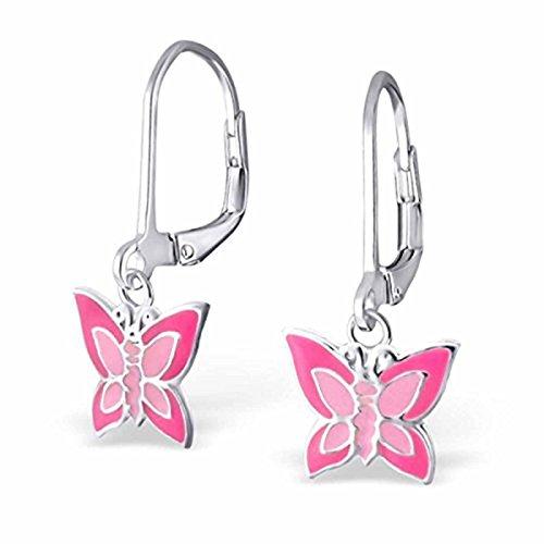 S-Silver, orecchini a monachella con farfalla, in argento Sterling 925, in due colori, da bambina e ossidato_argento, colore: Pink-rose, cod. kinderohrringe124