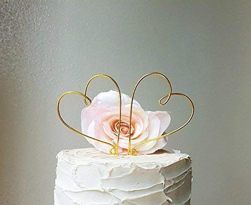 HEARTS Wedding Cake Topper in GOLD Wire Finish Special Events Decoration