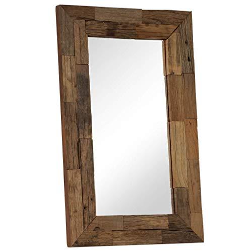 Fesjoy Specchio da Parete Specchio da Parete in Legno Naturale Specchio Grande da Parete Realizzato a Mano Appende per vanità, Camera da Letto o Bagno Regalo di inaugurazione della casa 50x80cm