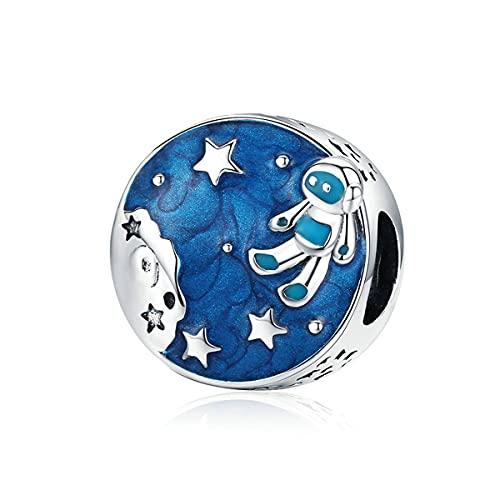 WMYDYBD Astronaut & Star Bead 925 Sterling Silver Midnight Blue Esmaltes Charms Fit Original Pulsera para Mujeres joyería de Bricolaje