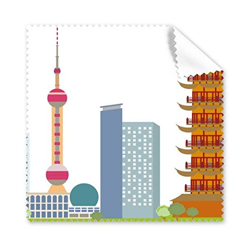China Chinese Architectuur De Oosterse Parel TV Toren Landmark Traditionele Cultuur Illustratie Patroon Bril Doek Schoonmaak Doek Telefoon Scherm Cleaner 5 stks