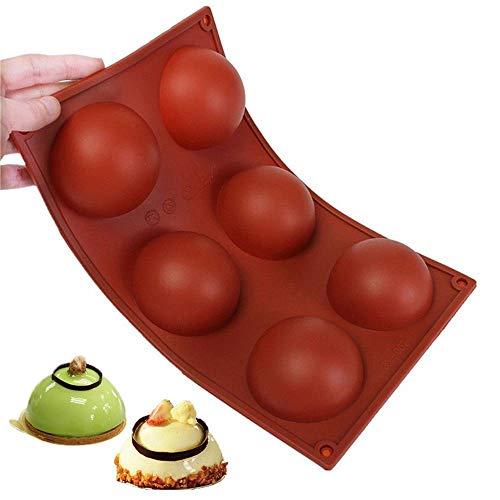 Amison 6er Silikon Backform/Muffinform für Muffins, Brownies, Cupcakes, Kuchen, Pudding, Eiswürfel und Gelee - Halbe Kugel