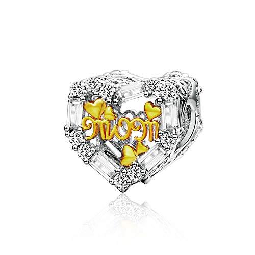 Bijoux Blu Mum Hart Bedels voor Armband 925 Sterling Zilver Mum Goud Kleur Metalen Kralen voor Bedel Armbanden