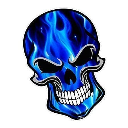 Sticker Licker Klassisch Carbon Rip Zerrissen Metall Design Mit Elektrisch Blau Flammen Gothic Totenkopf Motiv Vinyl Auto Aufkleber 105x130mm Auto