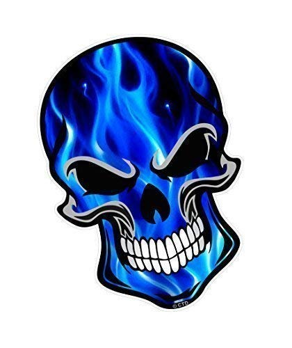 Motero Gótico Skull Diseño con Azul Eléctrico Llamas Modelo Vinilo Etiqueta Engomada...