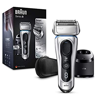 Braun Series 8 8391cc Next Generation Electric Shaver Clean and Charge Station Leather Case Silver, 2 pin plug