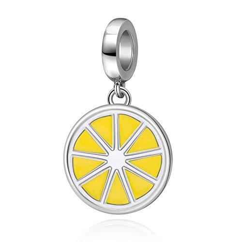 SOUKISS Yellow Lemon Charms 925 Sterling Silver Fruit Dangle Charms Fits European Bracelet
