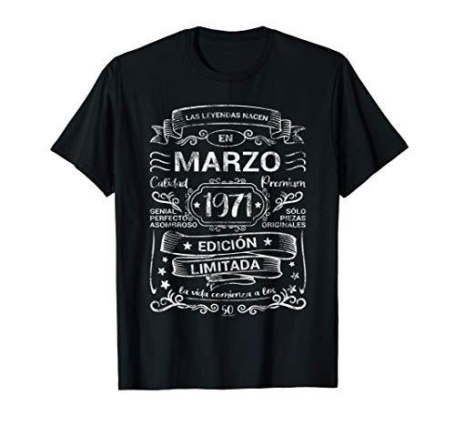 Leyendas Marzo 1971 Regalo Hombre Mujer 50 Años Cumpleaños Camiseta