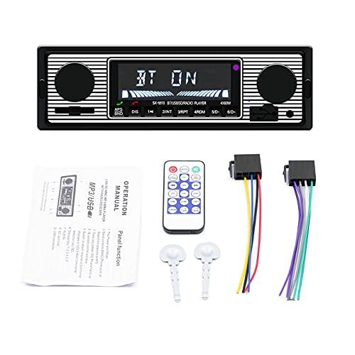 ZWMBAOR Reproductor Bluetooth Automóvil,Autoradio Estéreo para Automóvil,con Función Visualización Hora,Compatible con Reproducción USB/TF/SD/Aux,para Modificación Interior Automóvil