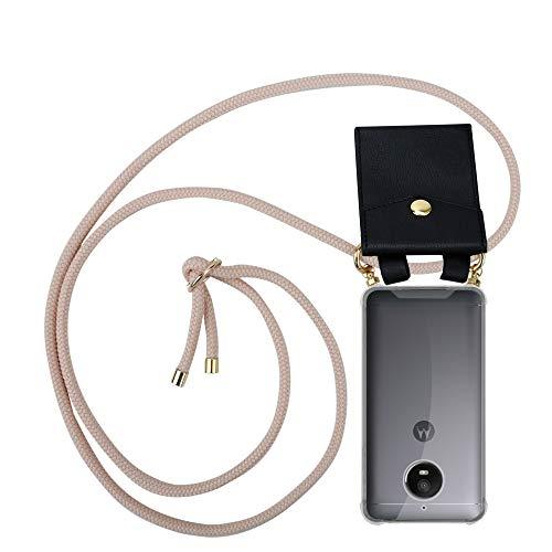 Cadorabo Handy Kette für Motorola Moto E4 in PERLIG ROSÉGOLD - Silikon Necklace Umhänge Hülle mit Gold Ringen, Kordel Band Schnur & abnehmbarem Etui – Schutzhülle