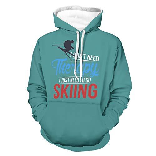 DAMKELLY Store Sudaderas de esquí para hombre con capucha y bolsillo frontal, color blanco M