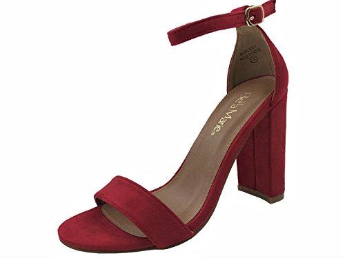 Bella Marie Women's Ankle Strap Block High Heel Sandal, Red, 5.5
