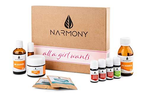 DIY Pflege Set für Frauen aus natürlichen Rohstoffen | mit ätherischen Ölen, Mandelöl, Jojobaöl und Kokosöl in Bio-Qualität | Kosmetik selber machen Set