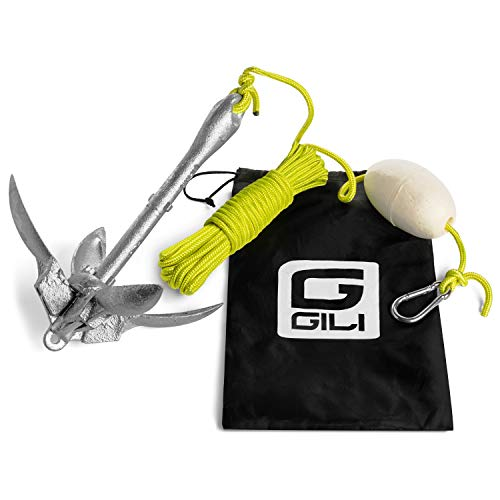 GILI Kayak Anchor and Paddle Board Anchor Kit, 3.5 lb Folding Anchor, Aluminum Anchor Kit for Kayaks, Canoes, Paddle Boards (SUP), (3.5 lbs)