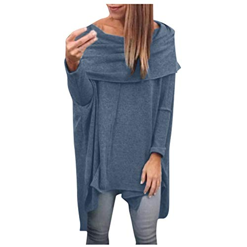 Best Bargain Amlaiworld Women Plus Size Sweater Casual Scarf Collar Long Sleeve Irregular Hemline T-...
