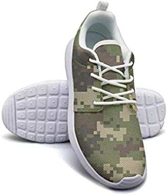 LOKIJM Green Camouflage Camo Army Sneakers for Women Nursing Breathable Running Shoes for Girls