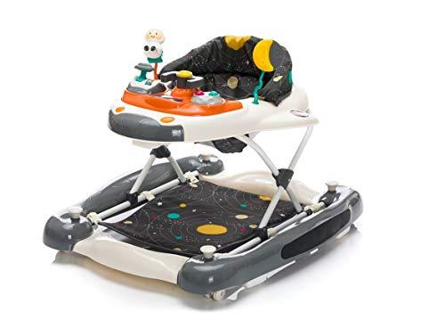 Fillikid Gehfrei Lauflernwagen 2in1 Exclusiv | Lauflernhilfe mit Spielbrett | Laufwagen mit Schaukel-Funktion | Babyschaukel 3 fach höhenverstellbar | Baby Walker Activity Center, Design:Space grau