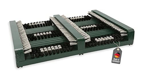 Lantelme Schuhabtreter 36 x 27 x 5,5cm Schuhabstreifer außen Holz mit Seitenleisten für die perfekte Reinigung Ihrer Schuhe (Grün)