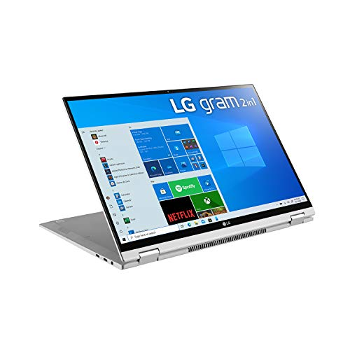 "LG Gram Thin & Light 2-in-1 Convertible Laptop - 16"" WQXGA (2560x1600) IPS LCD Touchscreen, 11th Gen Intel Core i7-1165G7 CPU, 16GB RAM, 2TB SSD, 21 Hour Battery - 16T90P-K.AAS9U1 - Silver (2021)"