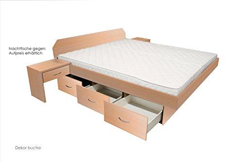 bellvita WASSERBETTEN mit Schubladensockel in Komforthöhe, Bettumrandung mit Aufbau, buche, 180 cm x 220 cm