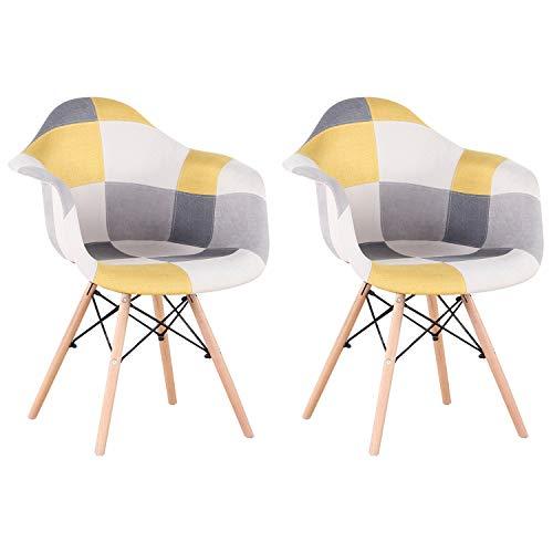 EGOONM 2er Set Patchwork Esszimmerstuhl mit Armlehne,Leinenstoff Freizeit Wohnzimmer Empfangsstühle, Küchenstuhl Holz (Yellow(Gelb))