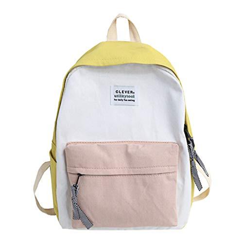 FossenStu Bolsas Escolares Juveniles Niña Clásico - Estilo Japonés Mochila Escolar, Simple Estilo Europeo, Popular Versión Coreana - Bolsa para/Mujeres/Estudiantes/Viajes (Amarillo-Clever)