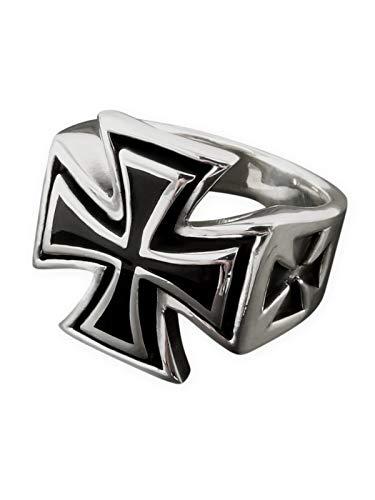 Fly Style Eisernes Kreuz Siegelring aus Edelstahl für Herren, Ring Grösse:22.9 mm