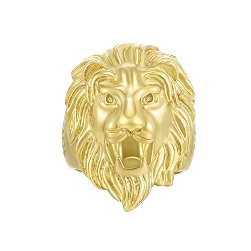 LINYIN 2pcs Anillo de Cabeza de león de Acero Inoxidable 18k Anillo de Hombre de Diamante Chapado en Oro en Europa y América Anillo de Fiesta de aleación Creativa 11号 Golden
